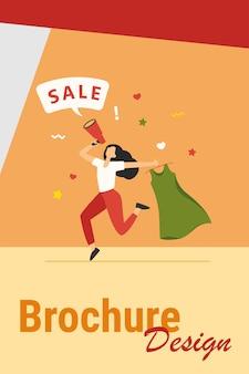 Szczęśliwa kobieta trzyma sukienkę na sprzedaż. ubrania, głośnik, dziewczyna płaski wektor ilustracja. koncepcja zakupów i promocji na baner, projekt strony internetowej lub stronę docelową