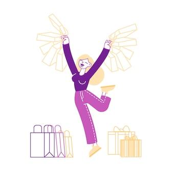 Szczęśliwa kobieta trzymając pakiety na zakupy