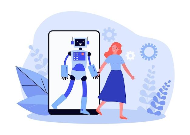 Szczęśliwa kobieta trzymając rękę robota z płaskiej ilustracji smartphone