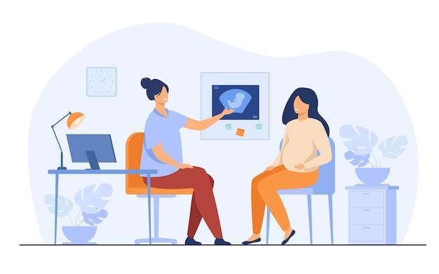 Szczęśliwa kobieta w ciąży doradztwo w biurze ginekologii na białym tle ilustracji wektorowych płaski. kreskówka pacjentka rozmawia z lekarzem w szpitalu. koncepcja medycyny i ciąży