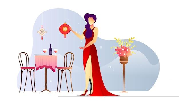 Szczęśliwa Kobieta W Czerwonej Sukni Chiński Lampion Ilustracja Tło Premium Wektorów