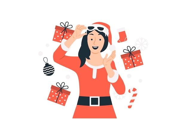 Szczęśliwa kobieta w garniturze santa z ilustracja koncepcja prezenty świąteczne