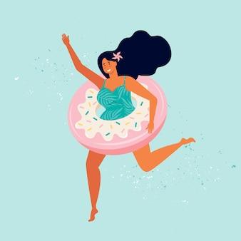 Szczęśliwa kobieta w strój kąpielowy działa ze słodkim pączkiem nadmuchiwany basen pływaka. letnia impreza na plaży. żeńska postać odpoczywa nad morzem. dziewczyna pozująca do zdjęć na plakatach. czas letni ręcznie rysowane płaskie ilustracja