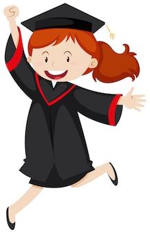 Szczęśliwa kobieta w sukni ukończenia szkoły