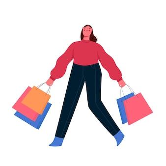 Szczęśliwa kobieta z płaską ilustracją kolorowe torby na zakupy