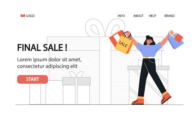 Szczęśliwa kobieta zakupoholiczka z torby na zakupy przechodzi z szablonu sklepu internetowego