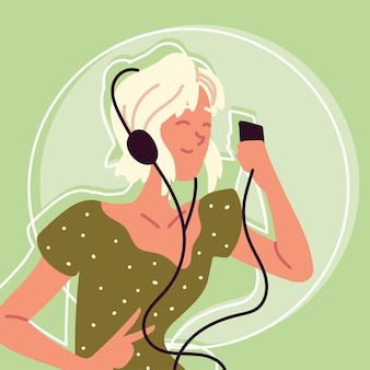 Szczęśliwa kobieta ze słuchawkami