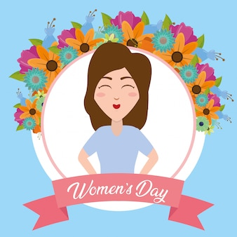 Szczęśliwa kobiety etykietka z kwiatu kartka z pozdrowieniami, szczęśliwy kobieta dzień