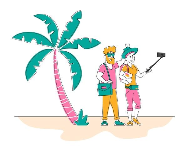 Szczęśliwa kochająca para lub przyjaciele stoją razem, pozując i gestykulując, robiąc zdjęcie selfie
