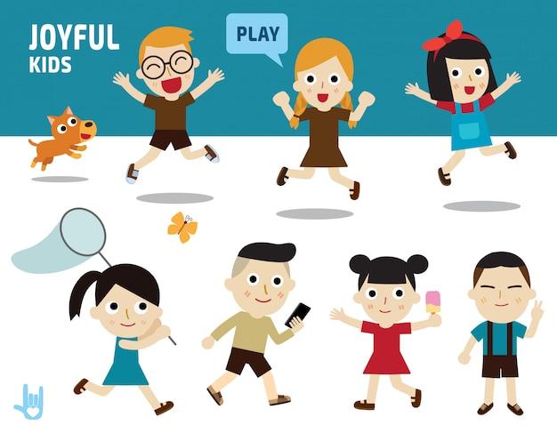 Szczęśliwa koncepcja. dzieci różnorodne kostiumy i pozy akcji.