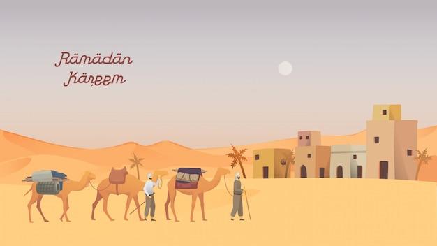 Szczęśliwa koncepcja eid mubarak i ramadan.