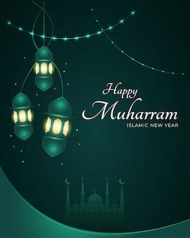Szczęśliwa koncepcja projektu muharram z eleganckimi latarniami na kartkę z życzeniami