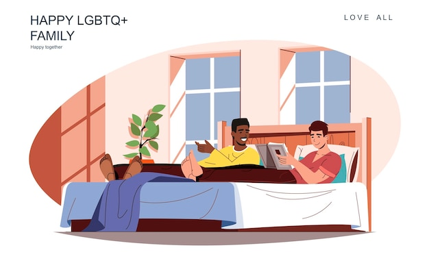 Szczęśliwa koncepcja rodziny lgbt kochający mężczyźni leżą w łóżku, czytają książkę lub rozmawiają, relaksują się razem w domu