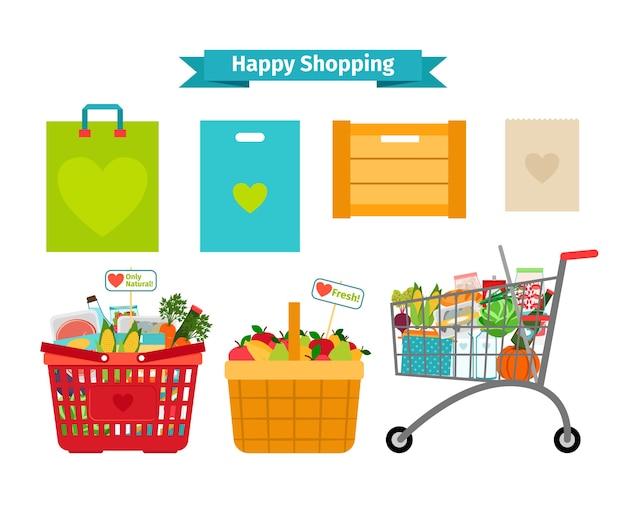 Szczęśliwa koncepcja zakupów. tylko świeże i naturalne jedzenie. odżywianie naturalne, sprzedaż naturalna