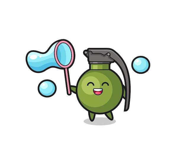 Szczęśliwa kreskówka granatu grająca w bańkę mydlaną, ładny styl na koszulkę, naklejkę, element logo
