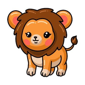 Szczęśliwa kreskówka lwa na białym tle