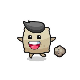Szczęśliwa kreskówka worek z pozą do biegania, ładny styl na koszulkę, naklejkę, element logo