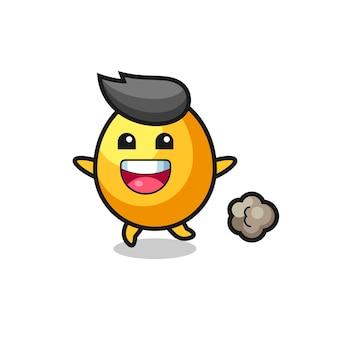 Szczęśliwa kreskówka złote jajko z pozą do biegania, ładny styl na koszulkę, naklejkę, element logo