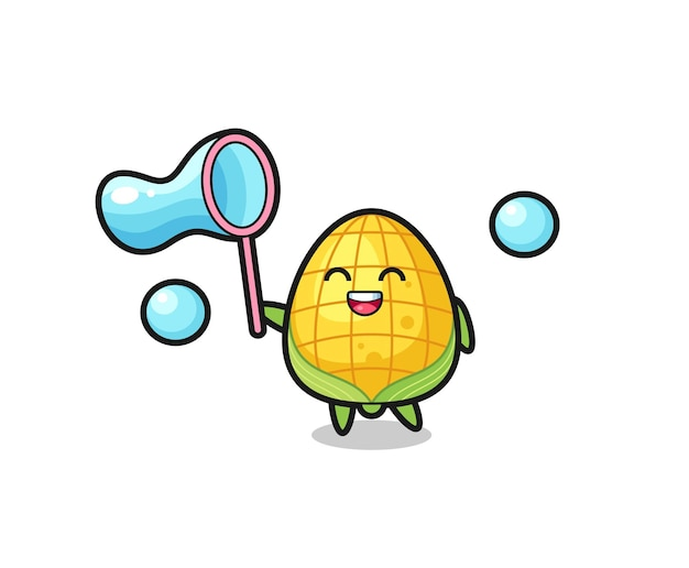 Szczęśliwa kukurydza kreskówka gra w bańkę mydlaną, ładny styl na koszulkę, naklejkę, element logo
