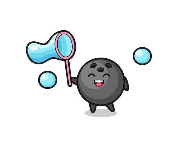 Szczęśliwa kula do kręgli kreskówka gra w bańkę mydlaną, ładny styl na koszulkę, naklejkę, element logo