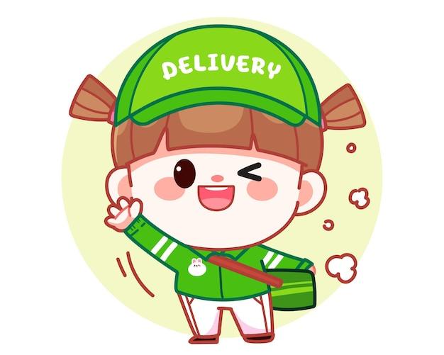 Szczęśliwa ładna dziewczyna dostawa jedzenia powiedz cześć transparent logo ilustracja kreskówka sztuki