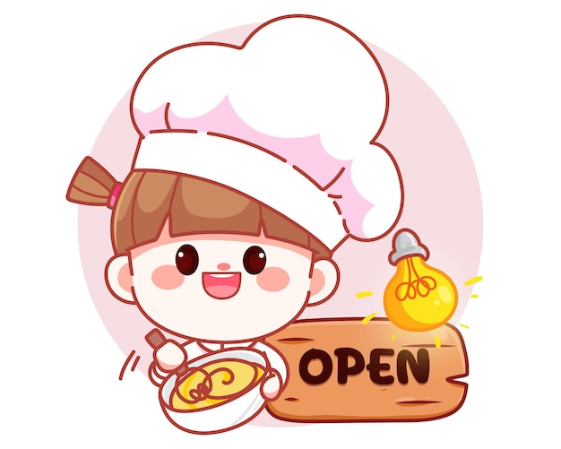 Szczęśliwa ładna dziewczyna kucharz gotuje piekarnia transparent logo ilustracja kreskówka sztuki