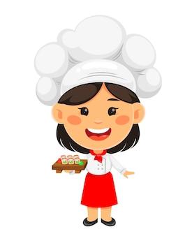 Szczęśliwa ładna dziewczyna kucharz gotuje wesoła kucharz dziewczyna postać z kreskówki