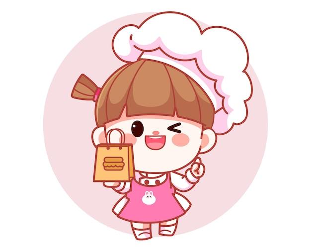 Szczęśliwa ładna dziewczyna kucharz trzyma jedzenie papierową torbę transparent logo kreskówka ilustracja sztuki