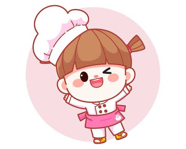Szczęśliwa ładna dziewczyna szef kuchni stojąca i uśmiechnięta transparent logo ilustracja kreskówka sztuki