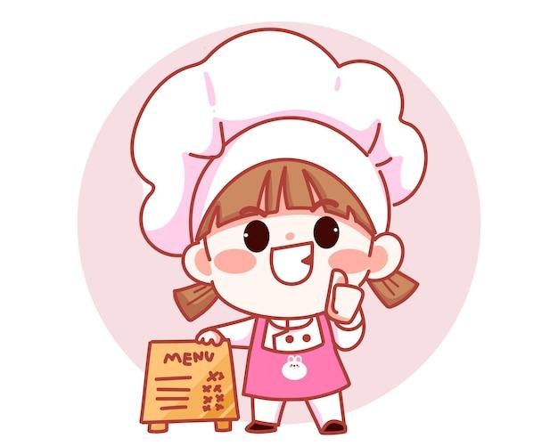 Szczęśliwa ładna dziewczyna szef kuchni stojąca z menu znak banner logo ilustracja kreskówka sztuki