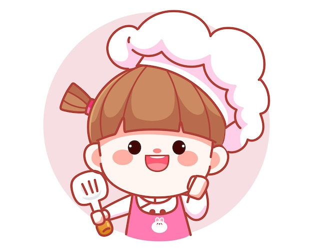 Szczęśliwa ładna dziewczyna szef kuchni uśmiecha się trzymając szpatułkę transparent logo ilustracja kreskówka sztuki
