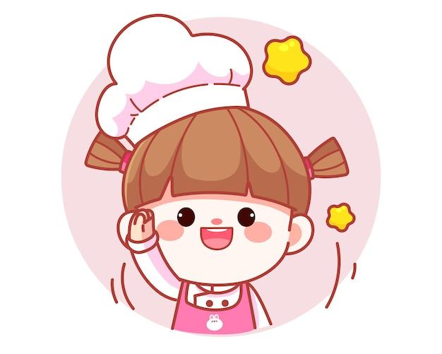 Szczęśliwa ładna dziewczyna szefa kuchni podnosząca rękę do powitania transparent logo ilustracja kreskówka sztuki
