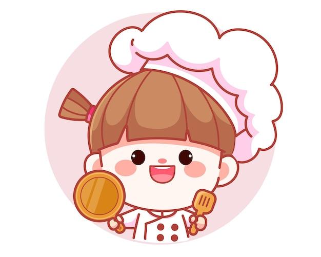 Szczęśliwa ładna dziewczyna szefa kuchni trzymająca łopatkę i patelnię transparent logo ilustracja kreskówka sztuki