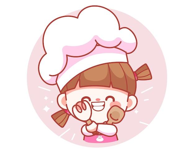 Szczęśliwa ładna dziewczyna szefa kuchni trzymająca łopatkę i trzepaczka logo banner ilustracja kreskówka sztuki