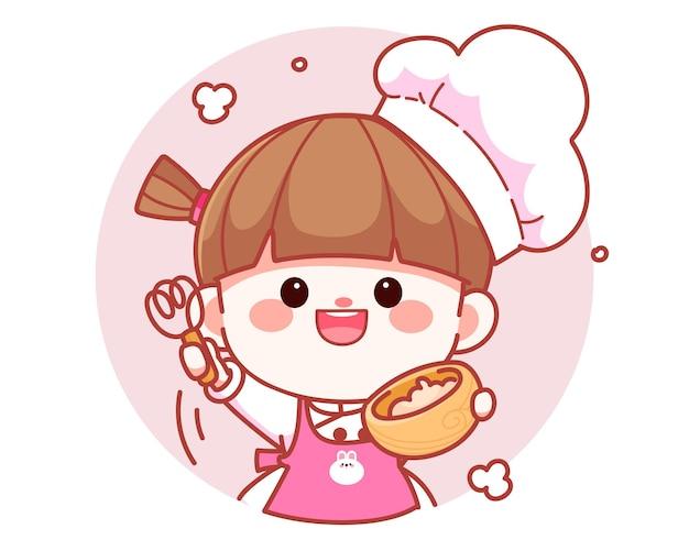 Szczęśliwa ładna dziewczyna szefa kuchni trzymająca miskę z trzepaczką banner logo ilustracja kreskówka sztuki