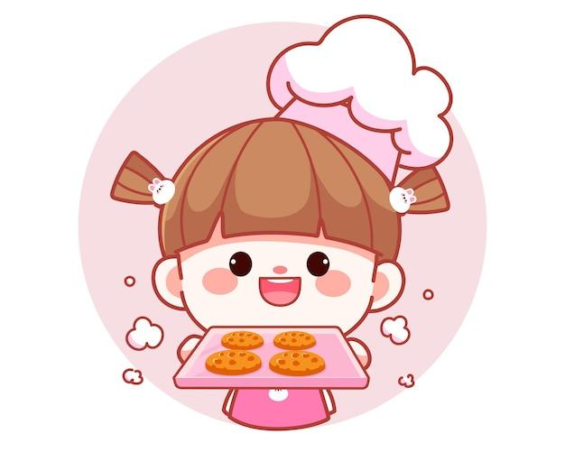 Szczęśliwa ładna dziewczyna szefa kuchni trzymająca tacę z ciasteczkami banner logo ilustracja kreskówka sztuki