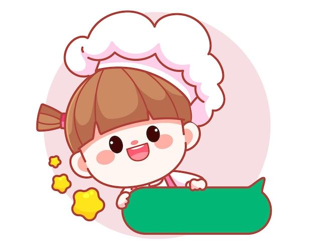 Szczęśliwa ładna dziewczyna szefa kuchni uśmiecha się i trzyma pole tekstowe transparent logo ilustracja kreskówka sztuki