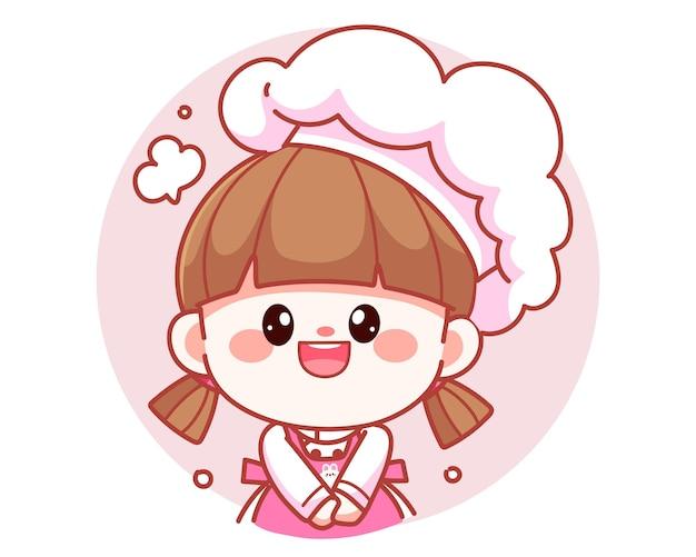 Szczęśliwa ładna dziewczyna szefa kuchni uśmiecha się transparent logo ilustracja kreskówka sztuki