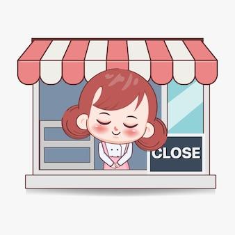 Szczęśliwa ładna dziewczyna szefa kuchni z blisko znak banner logo ilustracja kreskówka sztuki
