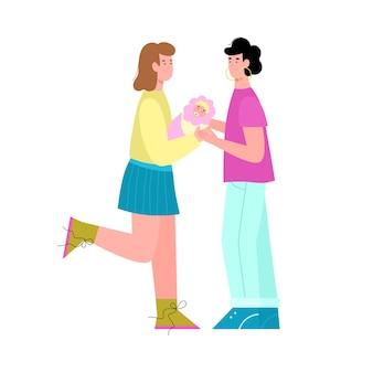 Szczęśliwa lesbijska para samesex lgbt z ilustracją noworodka