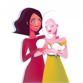 Szczęśliwa lesbijska rodzina lgbt z dzieckiem