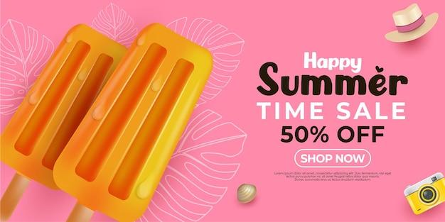 Szczęśliwa letnia promocja z lodami i kapeluszem na różowo