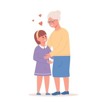 Szczęśliwa mała dziewczynka przytulanie uśmiechnięta babcia wektor płaska ilustracja