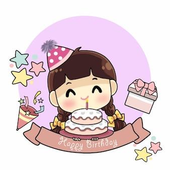 Szczęśliwa mała dziewczynka z tortem urodzinowym