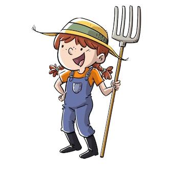 Szczęśliwa mała rolnik dziewczyna