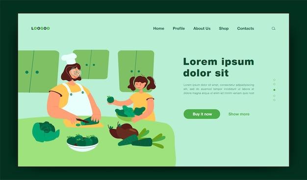 Szczęśliwa mama i córka dziecko gotowanie sałatki razem w kuchni, krojenie świeżych warzyw na rodzinny obiad w domu. płaska ilustracja