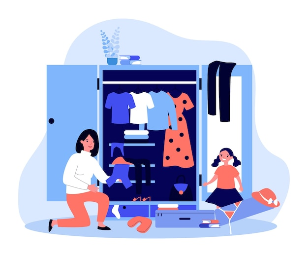 Szczęśliwa mama i córka pakują się na letni wyjazd. ilustracja walizka, ubrania, strój kąpielowy i kapelusz. rodzinne wakacje, podróże, koncepcja wakacji na baner, stronę internetową lub stronę docelową