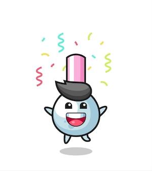 Szczęśliwa maskotka pączek bawełny skacze do gratulacji z kolorowym konfetti, ładny styl na koszulkę, naklejkę, element logo