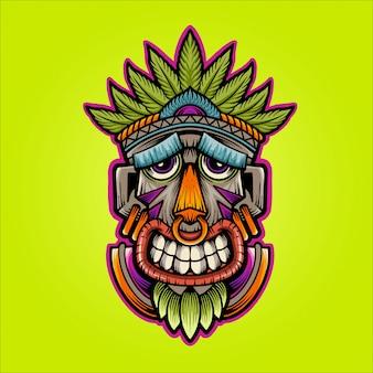 Szczęśliwa maskowa ilustracja