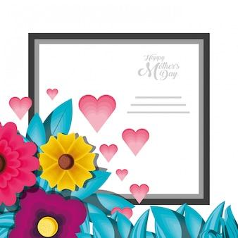 Szczęśliwa matka dnia karta z kwiatami i rama kwadratem